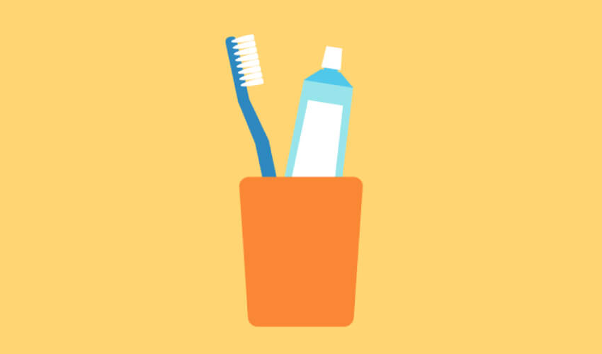 Drawing of a toothbrush and toothpaste in an orange cup against a yellow background