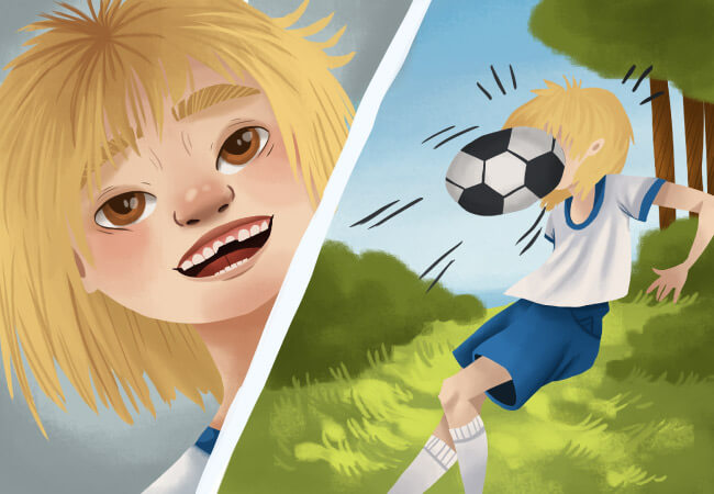 Cartoon image of a blonde girl without a sports mouthguard get hit in the face with a soccer ball, causing chipped front teeth