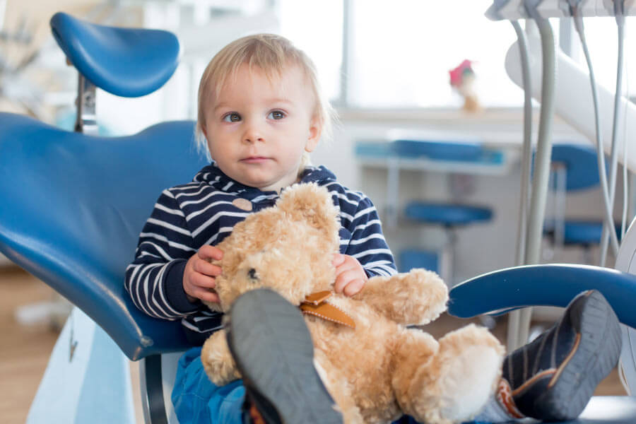 Toddler boy in the dental chair with his teddy bear for his first visit to the dentist.