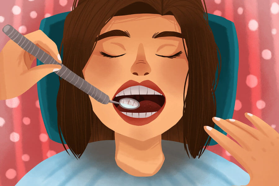 Cartoon of a lady at the dentist getting her teeth cleaned.